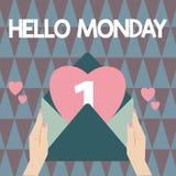 Текст почерка писать здравствуйте понедельник Сообщение смысла концепции приветствуя положительное для нового начала недели дня стоковое фото