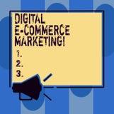 Текст почерка писать маркетинг коммерции цифров e Концепция знача приобретение и продажу товары и услуги онлайн иллюстрация штока