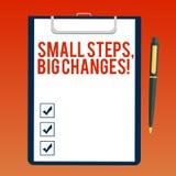 Текст почерка писать небольшим шагам большие изменения Смысл концепции делает маленькие вещи для выполнения большего пробела целе иллюстрация штока