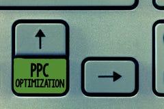 Текст почерка писать оптимизирование Ppc Повышение смысла концепции платформы поисковой системы для оплаты в щелчок стоковое фото