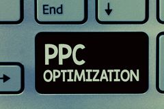 Текст почерка писать оптимизирование Ppc Повышение смысла концепции платформы поисковой системы для оплаты в щелчок стоковое изображение