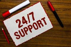 Текст почерка писать 24 7 поддержку Смысл концепции давая помощь не обслуживать весь все время никакой re белой бумаги времени пр стоковое фото rf