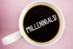 Текст почерка писать Millennials мотивационный звонок E Стоковая Фотография