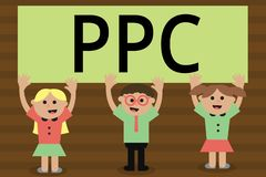 Текст почерка писать Ppc Рекламодателя смысла концепции оплачивают гонорар каждый раз одно из их объявлений щелкнутый маркетинг иллюстрация штока