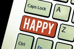 Текст почерка счастливый Довольство чувства смысла концепции или удовольствия показа о что-то персона стоковая фотография rf