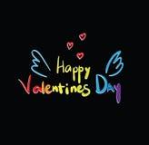 Текст радуги с днем ` s валентинки крылов на черной предпосылке бесплатная иллюстрация