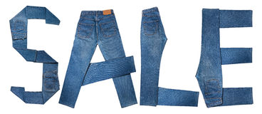 текст сбывания джинсыов Стоковое Изображение RF