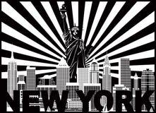 Текст Солнце горизонта Нью-Йорка излучает иллюстрацию вектора Стоковое Изображение RF