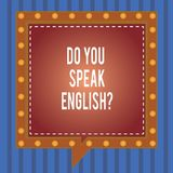Текст сочинительства слова вы говорите Englishquestion Концепция дела для говоря уча различных языков придает квадратную форму ре бесплатная иллюстрация