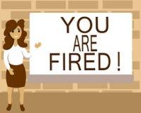 Текст сочинительства слова вы увольняны Концепция дела для выходить от работы и, который стали безработного не конца карьера иллюстрация штока