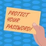 Текст сочинительства слова защитить ваш пароль Концепция дела для защищает информацию доступную через компьютеры вычерченный Hu иллюстрация вектора