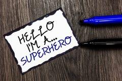 Текст сочинительства слова здравствуйте! я a супергерой Концепция дела для bordere черноты прочности таможен персонажа из мультфи стоковое изображение