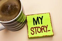 Текст сочинительства слова мой рассказ Концепция дела для портфолио профиля личной истории достижения жизнеописания написанного н стоковая фотография rf