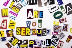 Текст сочинительства слова показывая концепцию вы серьезным вопросом сделанным различного письма газеты кассеты в случай дела на  Стоковые Фото