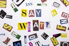 Текст сочинительства слова показывая концепцию говорит чего вопрос сделал различного письма газеты кассеты в случай дела на whit стоковая фотография