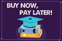Текст сочинительства слова покупает теперь для того чтобы оплатить позже Концепция дела для кредита для того чтобы купить время о иллюстрация вектора