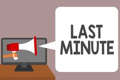 Текст сочинительства слова последняя минута Концепция дела для сделанный или происходящ не позднее возможное время перед человеко иллюстрация вектора