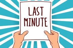 Текст сочинительства слова последняя минута Концепция дела для сделанный или происходящ не позднее возможное время перед человеко бесплатная иллюстрация
