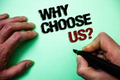 Текст сочинительства слова почему выберите нас вопрос Концепция дела для причин что вы самые лучшие показывая возможности зеленая стоковые фото