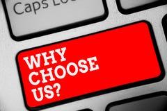 Текст сочинительства слова почему выберите нас вопрос Концепция дела для причин для выбирать наш бренд над другими клавиатура кра стоковые изображения rf