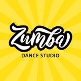Текст студии танца Zumba Дизайн знамени слова каллиграфии аэробная пригодность также вектор иллюстрации притяжки corel иллюстрация вектора