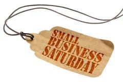 Текст субботы мелкого бизнеса на бумажном ценнике Стоковое фото RF