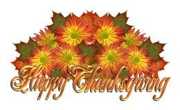Текст счастливого благодарения графический флористический иллюстрация вектора