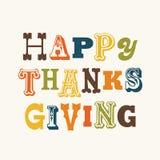 Текст счастливой карточки благодарения винтажный на cream квадрате Стоковые Фото