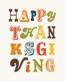 Текст счастливой карточки благодарения винтажный на cream портрете Стоковое фото RF