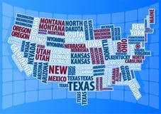 текст США карты Стоковое Изображение RF