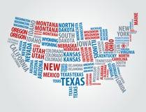 текст США карты Стоковые Фотографии RF