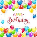 Текст с днем рождения с воздушными шарами и лентами Стоковое фото RF