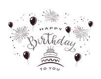 Текст с днем рождения с фейерверком и тортом иллюстрация вектора