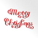 Текст с Рождеством Христовым рукописной литерности красный изолированный на Trans Стоковые Фотографии RF