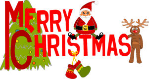 Текст с Рождеством Христовым цветастый. Стоковые Изображения RF