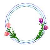 E текст с цветком тюльпана r иллюстрация штока