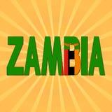 Текст флага Замбии с иллюстрацией sunburst иллюстрация вектора
