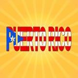 Текст флага Пуэрто-Рико с иллюстрацией sunburst иллюстрация вектора