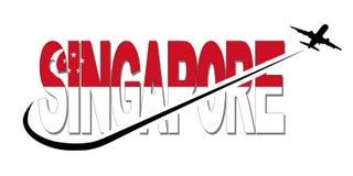 Текст флага Сингапура с иллюстрацией самолета и swoosh Стоковое фото RF
