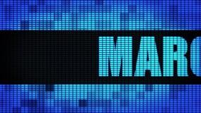 Текст фронта в марте перечисляя доску знака дисплея с плоским экраном стены СИД бесплатная иллюстрация