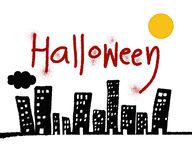Текст хеллоуина и черное здание стоковое фото rf