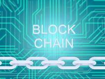 Текст цепи блока и электрическая цепь и цепь на голубой предпосылке illustrationn 3D иллюстрация штока