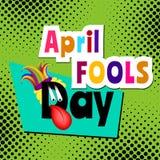 Текст шаржа дня дурачков в апреле Стоковые Изображения