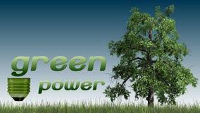 Текст экологической энергии и дерево - концепция экологичности Стоковые Фото