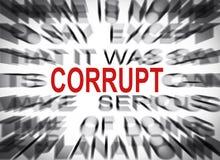 Текст Blured с фокусом на CORRUPT стоковые изображения