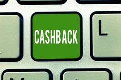 Текст Cashback почерка Стимул смысла концепции предложил к покупателям одним продукты whereby получите наличные деньги стоковое фото