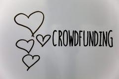 Текст Crowdfunding сочинительства слова Концепция дела для финансировать проект путем поднимать деньги от большого количества сер Стоковое Изображение