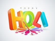 текст 3D для индийского фестиваля, торжества Holi Стоковая Фотография RF