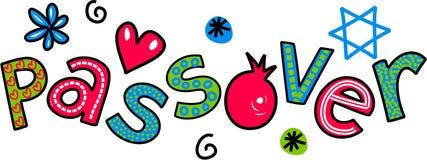 Текст Doodle шаржа фестиваля еврейской пасхи еврейский Стоковая Фотография