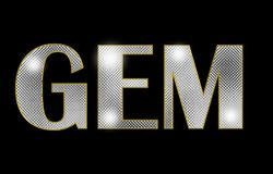Текст gam диаманта с черной предпосылкой текст gam ювелирных изделий серебр Стоковое фото RF